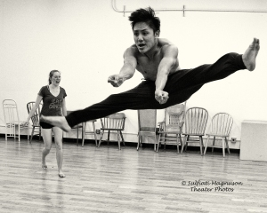 Ulyber Mangune and Laura Duncan in rehearsal for CORE Theatrics' 2014 production of All Shook Up